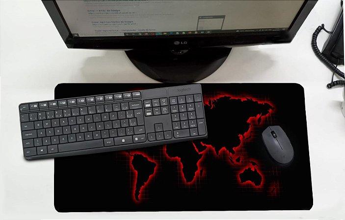 Mouse Pad / Desk Pad Grande 30x70 Linha Office - Mapa Mundi  Vermelho