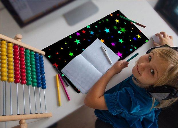 Mouse Pad / Desk Pad Grande 30x70 Linha Infantil - estrelinhas coloridas