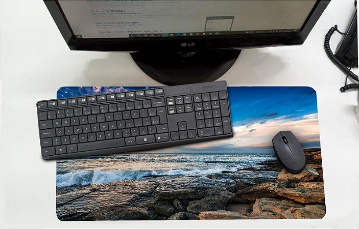 Mouse Pad / Desk Pad Grande 30x70 Paisagem - mar azul