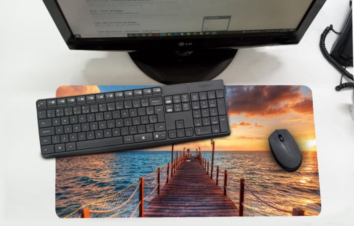 Mouse Pad / Desk Pad Grande 30x70 Paisagem - mar pier