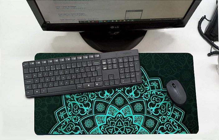Mouse Pad / Desk Pad Grande 30x70 Paisagem - Meia Mandala Azul