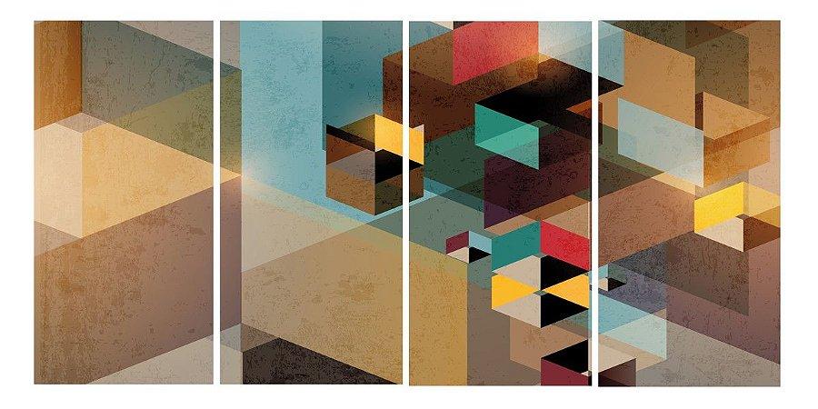 Quadro Digital - Abstrato Marrom e Bege 100x200 - 4pçs