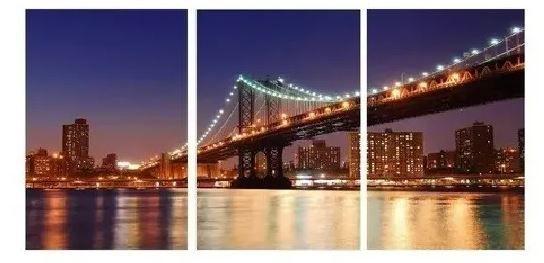 Quadro Digital - Ponte de Manhattan Colorida - 100x200 - 3pçs