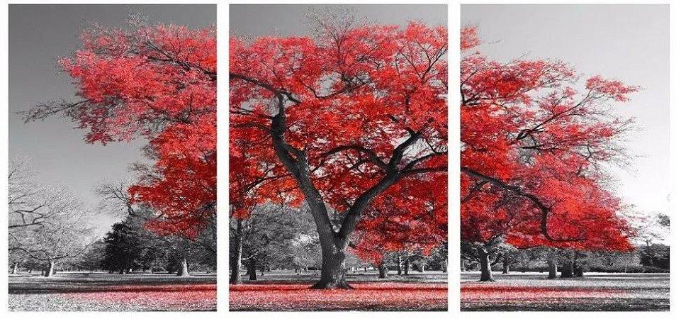 Quadro Digital - Arvore Vermelha - 100x200 - 3pçs