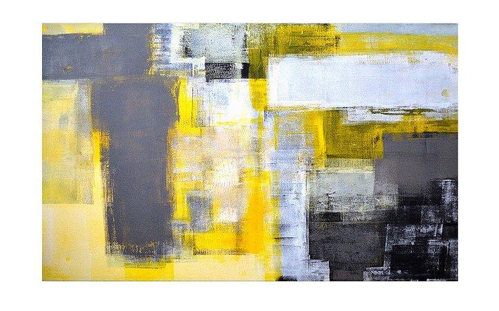 Quadro Abstrato Cinza e Amarelo - Diversos Tamanhos