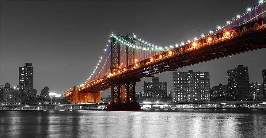Quadro Nova York Manhattan Pb C/ Ponte Colorida - Diversos Tamanhos