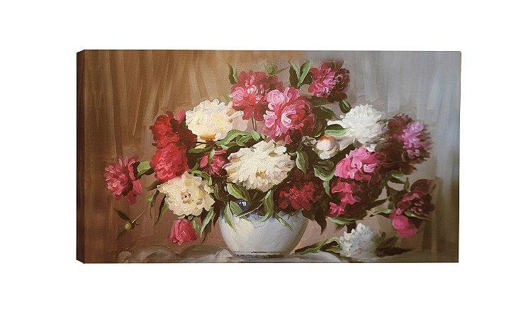 Quadro  Vaso Flores Rosa ( ID55-02 ) - Diversos Tamanhos
