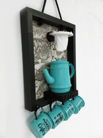 Enfeite para cozinha Coador Bule Xicara Azul Tiffany  30x40