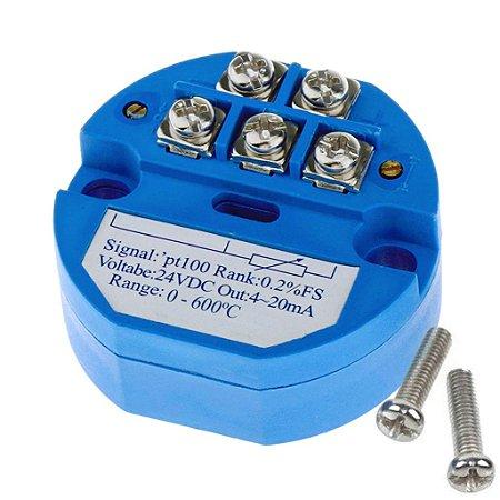 Transmissor de Temperatura 4-20mA PT100 600ºC