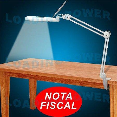 Lupa de Bancada com Iluminação Com Aumento De 8 X Lente 178mm