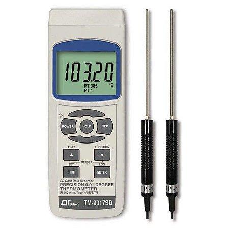 Termômetro Datalogger Centesimal de Alta Precisão PT-100 TM-9017SD Lutron