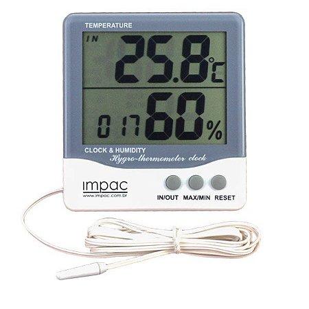 Termo Higrômetro com Sensor Interno, Externo e Relógio TH-08 Impac