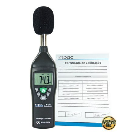 Decibelímetro Digital Portátil IP-130 + Certificado de Calibração Rastreável