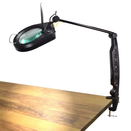 Lupa de Bancada com Iluminação 3X IP-200H 110V Preta