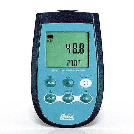 Medidor de Temperatura PT-100, Umidade e Ponto de Orvalho HD-2301 Delta Ohm