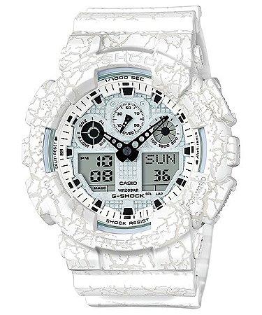 f1def4c2521 Relógio Casio Masculino Analógico Digital G-Shock GA-100CG-7ADR - Branco