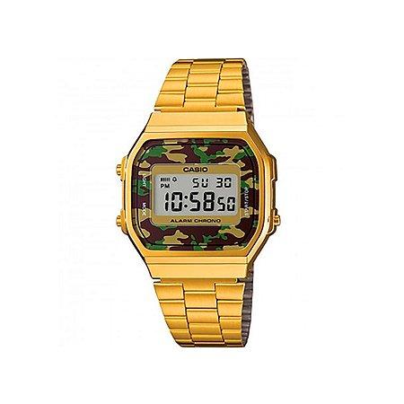 ee0539c069a3e Relógio Casio Vintage Digital - A168WEGC-3DF - Dourado Camuflado ...