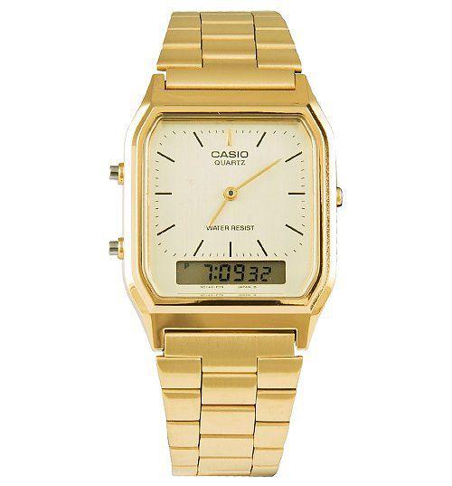 ec912c5a81f4 Relógio Casio Vintage Digital Analógico - AQ-230GA-9DMQ -Dourado (Gold