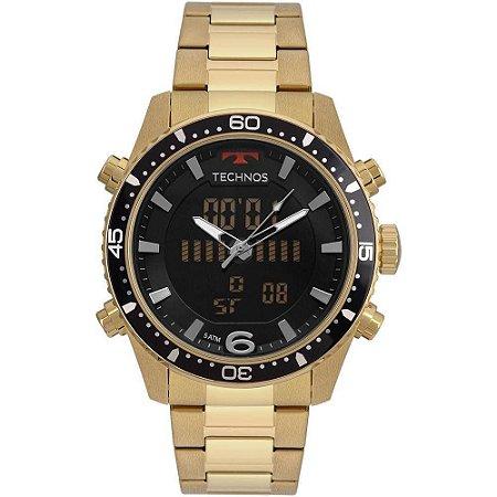 d76b4f468e6 Relógio Masculino Technos Anadigi Bjk203aad 4p Dourado - Megamix Eletro
