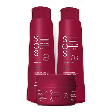 KIT SOS (shampoo 300ml, condicionador 300ml e máscara 250g)
