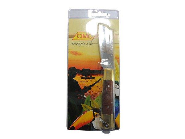 Canivete Inox Cabo de Latão c/ Acrílico e Madeira - Cimo