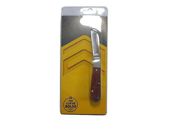 Canivete Inox 16/3 Cabo de Madeira c/ Clip - Cimo