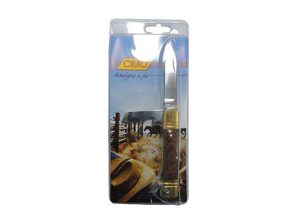 Canivete Inox c/ Lâmina Dupla Cabo de Latão e Cimowood - Cimo