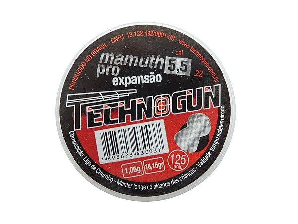 Chumbinho Mamuth Pro 5,5mm c/ 125 Unidades - Technogun
