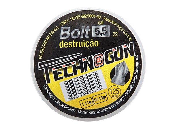 Chumbinho Bolt 5,5mm c/ 125 Unidades - Technogun