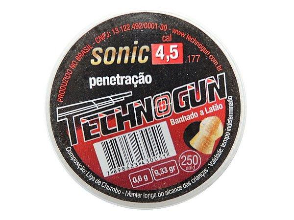 Chumbinho Sonic Dourado 4,5mm c/ 250 Unidades - Technogun