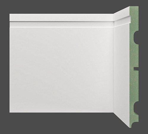 Rodapé e Guarnição Branco em MDF 20cm ULTRA com friso moderno - preço por barra com 2,40 metros lineares * com vão para passar fio