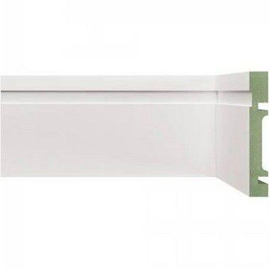 Rodapé e Guarnição Branco em MDF 5cm ULTRA com friso moderno - preço por barra com 2,40 metros lineares * com vão para passar fio