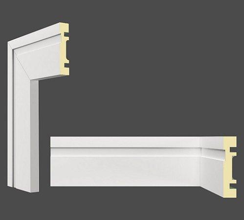 Rodapé e Guarnição Branco em MDF 7cm com friso moderno - preço por barra com 2,40 metros lineares * com vão para passar fio