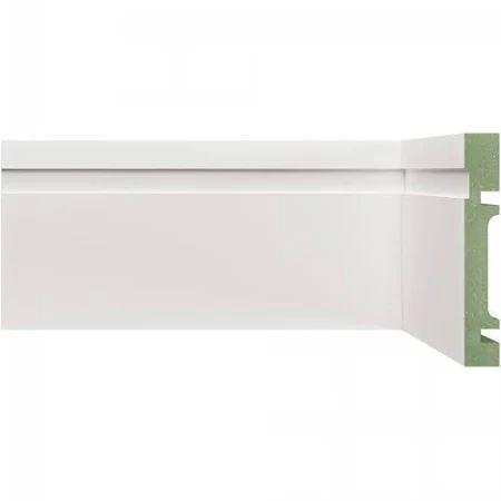 Rodapé e Guarnição BRanco em MDF 7cm ULTRA com friso moderno - preço por barra com 2,40 metros lineares * com vão para passar fio