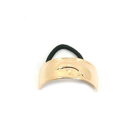 Rabicó Dourado Brilho de Metal Liso com Golfinho