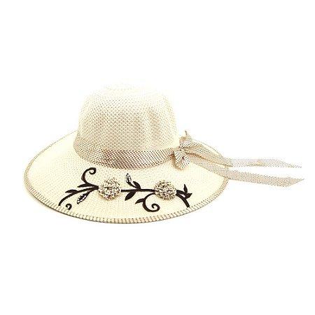 Chapéu Marfim com Laço Poá