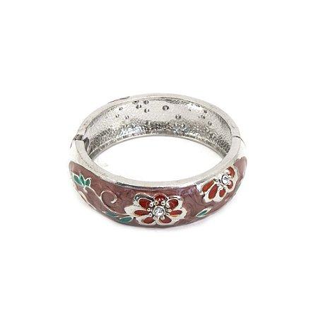 Pulseira Bracelete em Metal com Flores