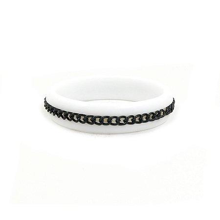 Pulseira Bracelete Branco com Corrente