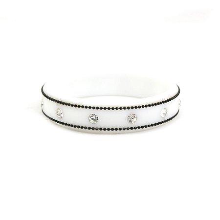 Pulseira Bracelete Branco com Strass