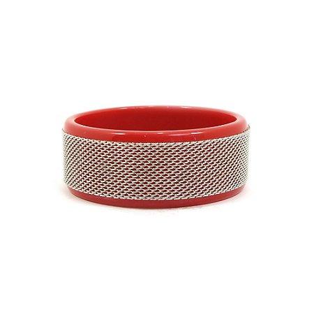 Pulseira Bracelete Vermelho e Prateado