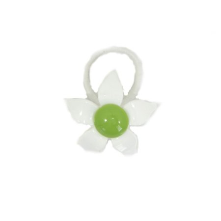 Rabicó de Acrílico Flor Branco e Verde
