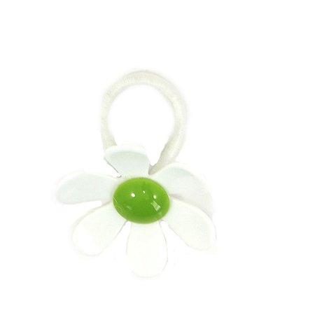 Rabicó Flor de Acrílico Branco e Verde