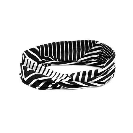 Headband Turbante Preto e Branco Listrado