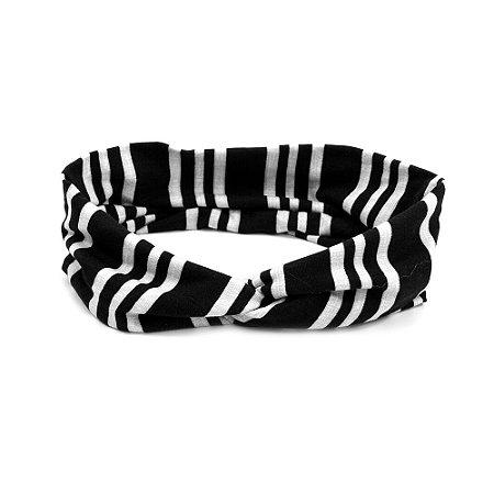 Headband Turbante Preto e Listras