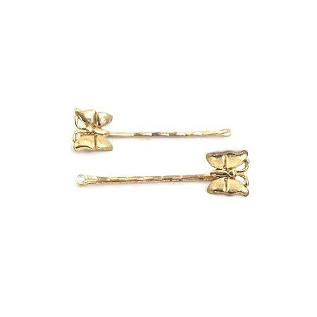 Presilha de Cabelo Dourado com Borboleta