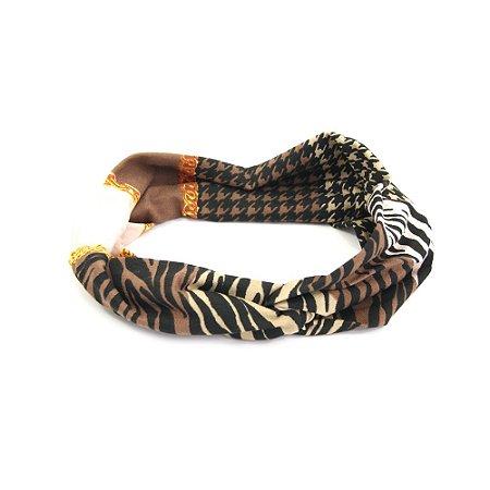 Headband Turbante Marrom Estampado