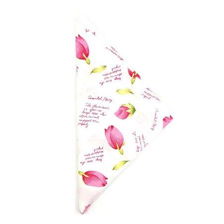 Lenço Branco Quadrado com Flores  Rosa