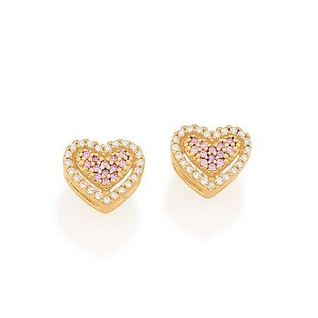 Brinco Dourado Coração com Zircônias Lilás Rommanel
