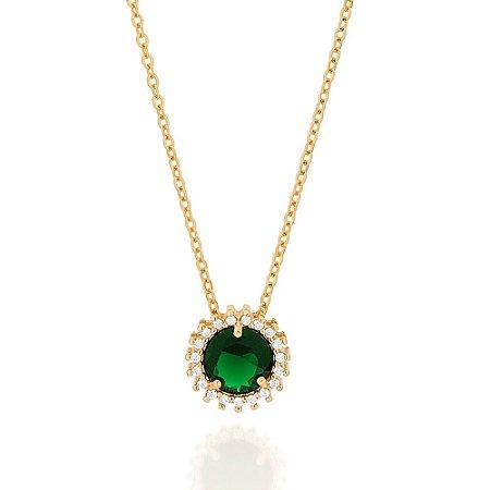 Gargantilha Dourada com Cristal Verde e Zircônias Rommanel
