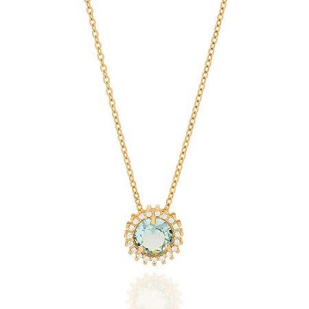 Gargantilha Dourada com Cristal Azul e Zircônias Rommanel